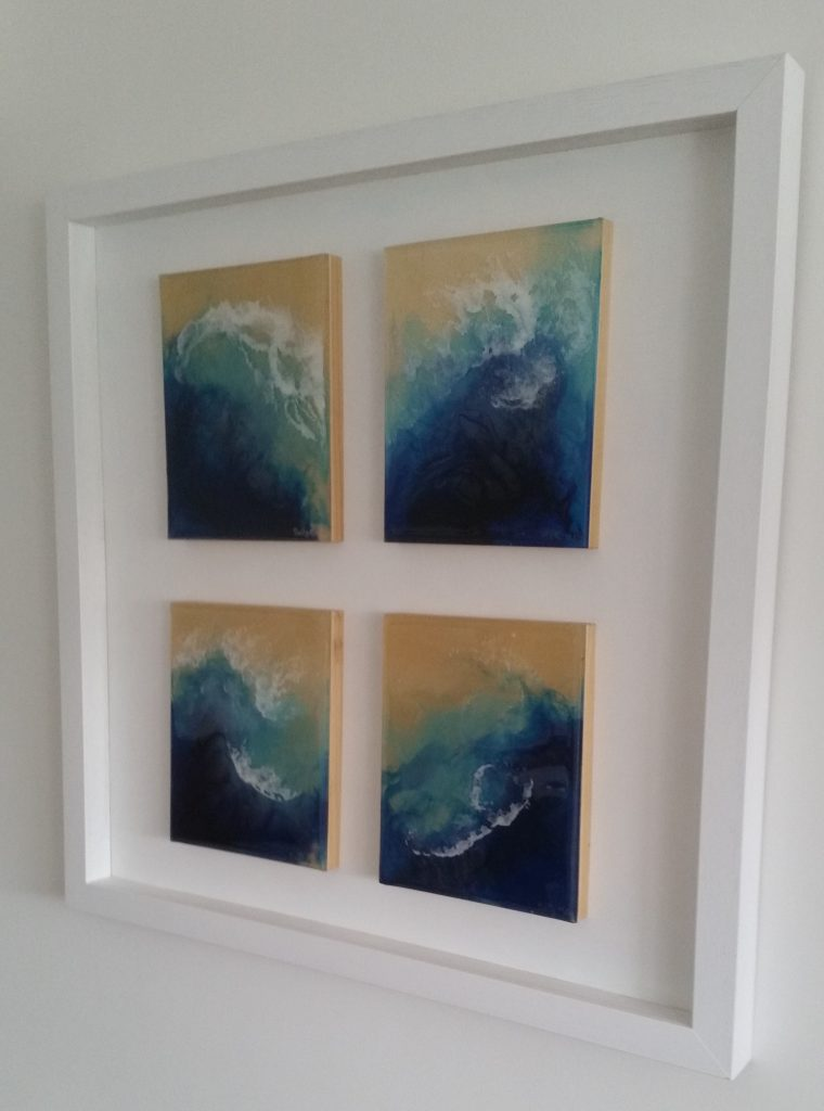Deep Blue Ocean Sea Sprays framed and in their new home